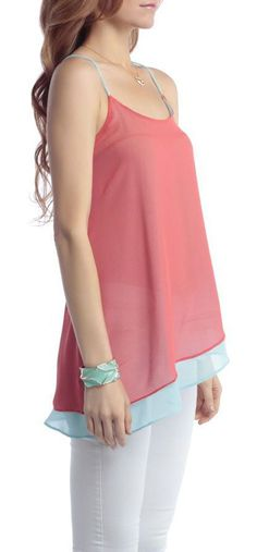 Coral & Mint Layered Strap Tank <3