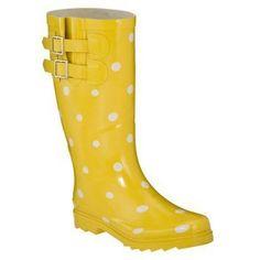 Womens Novel Dot Rain Boots - Yellow/White