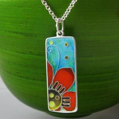 Flor  cloisonne enamel necklace by agoraart on Etsy, $85.00