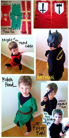 boy costumes - batman, knight, peter pan or robin hood and a secret agent man. Sewing For Kids, Diy For Kids, Cool Kids, Diy Costumes For Boys, Halloween Costumes For Kids, Simple Costumes, Dress Up Costumes, Boy Costumes, Costume Ideas