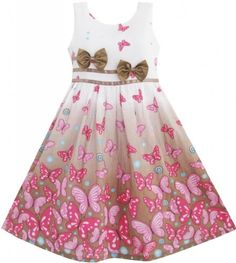 bf19103f2 Girls Dress Brown Butterfly Double Bow Tie Party Sundress Size 4-5 Sunny  Fashion,