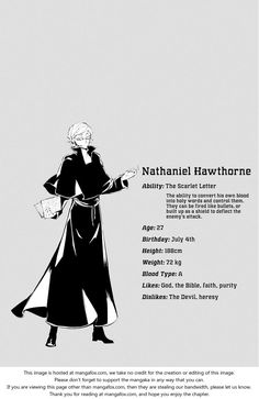 Bungo Stray Dogs | Hawthorne Nathaniel - Ability: The Scarlet Letter  | Character Chart | Manga (Ch 21: Irmão and Diablo) | SailorMeowMeow