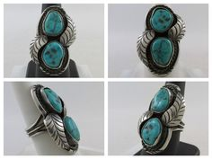 HANDMADE NATIVE AMERICAN STERLING SILVER TURQUOISE FEATHER RING
