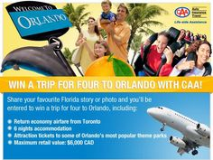 Win a Getaway with CAA to Sunny Orlando, Florida! Open to South Central Ontario residents. Attraction Tickets, Orlando Travel, Win A Trip, Run Disney, Enter To Win, Making Memories, Family Travel, Entertaining, Giveaways