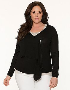 With exposed zipper detailing and a dramatic draped front, this chic cardigan tops endless looks with Lane Collection attitude. Luxuriously soft, fine gauge knit is the perfect weight for year-round layering, worn zipped or open for versatile styling over your favorite looks. Long sleeves. lanebryant.com