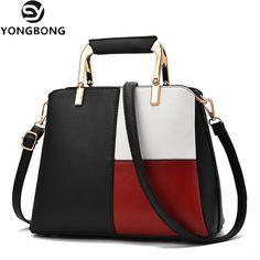 973de7a13f3 YONGBONG Women Handbag Fashion Black and White Patchwork Tote Bag High  Quality PU Leather Shoulder Crossbody Bags