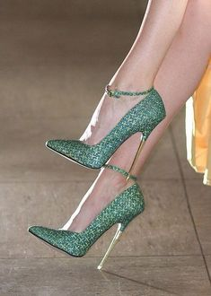 Green Metallic High Heels... LOVE