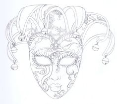 venetian masks coloring pages Cool Coloring Pages, Adult Coloring Pages, Coloring Books, Colouring, Masquerade Mask Tattoo, Venitian Mask, Jester Mask, Mask Drawing, Venice Mask