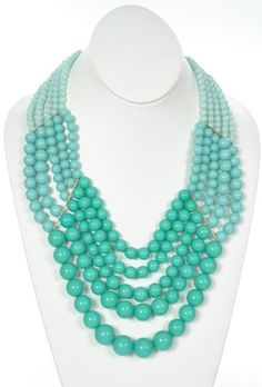 Ombre Bead Necklace in Turquoise - $28.50