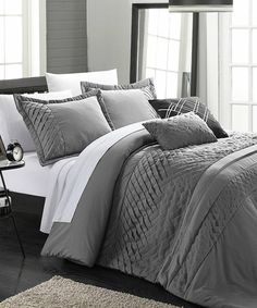 This Charcoal Carina Pleated Handmade Comforter Set is perfect! #zulilyfinds