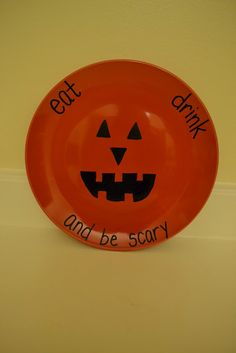 hand painted halloween ceramic jack o lantern plate pottery halloween plates and etsy - Halloween Plates Ceramic