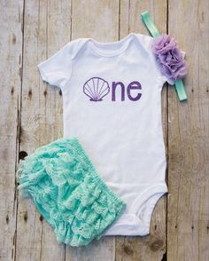 Mermaid and Seashell First Birthday Cake Smash Outfit