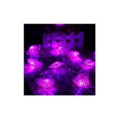 10 LED Rattan Heart String Fairy Lights Lamp Xmas Wedding Party Home... (13 CAD) ❤ liked on Polyvore featuring purple