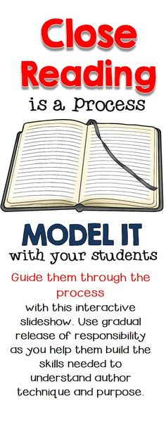 Teach your students the art of close reading with this slide show that uses a guided release of responsibility to help build their confidence and skills. Reading Lessons, Reading Skills, Teaching Reading, Guided Reading, Reading Activities, Reading Resources, Close Reading Strategies, Teaching Strategies, Teaching Tips
