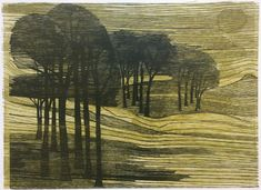 Pauline Jacobsen, British (1934- 2014) - Winter Trees, 2/50   c.1998, Woodcut, 30 x 42 cm