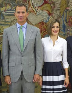 (L-R) King Felipe VI of Spain and Queen Letizia of Spain attend audiences at Zarzuela Palace on September 2, 2015 in Madrid, Spain