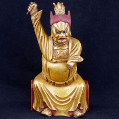 Gilded Wood Chinese temple guardian late 19th Century $400