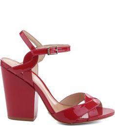 Sandália Salto Bloco Verniz Red