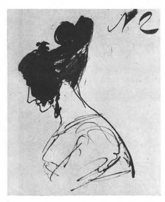 Russian novelist Alexander Pushkin's sketch of Anna Alexevyena Olenina