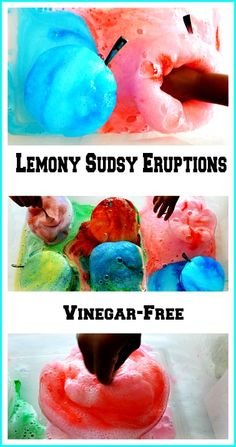 Vinegar-free science fun. A great science, messy experiment for kids. The foam is so cold to touch! Great sensory play and the end of the play you will have a homemade cleaning agent