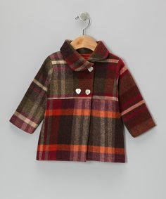 Red Plaid Wool Double-Breasted Coat - Infant & Toddler
