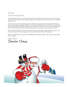 Free Letters From Santa Claus kids Santa letter Santa Claus