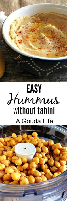 Easy Hummus Recipe Without Tahini ~ deliciously creamy with just a hint of lemon. No tahini needed! This healthy appetizer comes together in a jiffy! Healthy Appetizers, Appetizer Recipes, Healthy Snacks, Healthy Eats, Easy Hummus Recipe Without Tahini, Paleo Honey, High Fiber Foods, Mediterranean Recipes