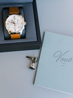 Groomsmen gift - watch Victorinox Watch from Bloomingdales / Vow book from BHLDN