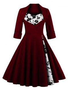 GET $50 NOW | Join RoseGal: Get YOUR $50 NOW!http://www.rosegal.com/vintage-dresses/floral-print-paneled-swing-dress-874557.html?seid=8344645rg874557