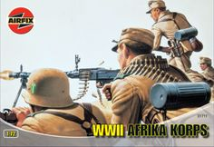 WWII Afrika Korps    Unpainted figures set, scale 1:72.   Paints needed to finish figures as shown are not included.