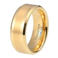 Beveled Gold Tungsten Wedding Band