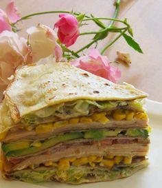 Receta de Torta de Panqueques Fría con Palta, Lechuga, Tomate, Choclo y Jamón de Pavo Healthy Eating Recipes, Mexican Food Recipes, Ethnic Recipes, Healthy Life, Love Eat, Love Food, Native Foods, Salty Foods, No Salt Recipes