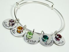 Personalized hand stamped bangle bracelet with birthstones! Mothers bracelet or grandma gift! Up to 5 names/birthstones included