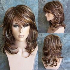 Orgshine Wig Female High Quality Intranet Medium Side Bang Highlighted Layered Slightly Curled Synthetic Wig With Hairnet - - Aktuelle Damen Frisuren Medium Hair Styles, Curly Hair Styles, Highlighted Bangs, Synthetic Wigs, Hairstyles With Bangs, Short Haircuts, Hairstyles Men, Hairstyle Ideas, Braided Hairstyles