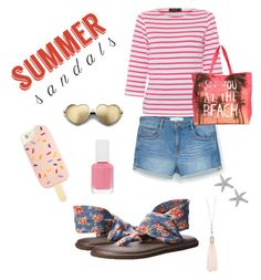 """#summersandals fun in the sun"" by bostonhibiscus on Polyvore featuring sanuk, MANGO, Saint James, Wildfox, Tory Burch, Essie, Oasis, Belk Silverworks and summersandals"