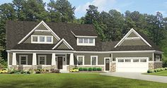 Craftsman House Plan with 2660 Square Feet and 4 Bedrooms from Dream Home Source   House Plan Code DHSW077002