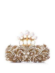 Pearl embellished knucklebox clutch | Alexander McQueen | MATC...