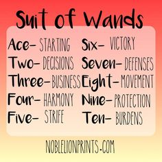 Suit of Wands - Ace to Ten Quick Reference   Visit http://www.noblelionprints.com for more tarot tips!