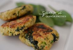 Spinach Quinoa Patties - Uses 1/3 C parmesan cheese and 1 C breadcrumbs (sub w/ ground sunflower seeds)