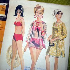 1960s Vintage Sewing Pattern - McCalls 8285 - Bathing Suit and Beach Cover-Up by SelvedgeShop on Etsy https://www.etsy.com/uk/listing/97228319/1960s-vintage-sewing-pattern-mccalls
