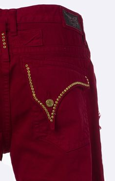 Aurum Single Link Swarovski Red Denim Shorts