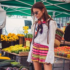 bright color striped shorts + eyelet long sleeved blouse + printed scarf