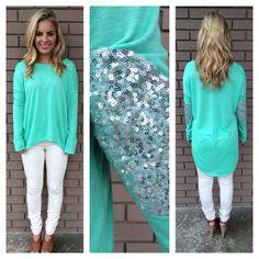 Mint SilverShine Long Sleeve Sweater Top