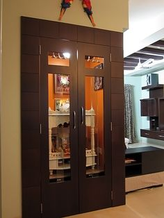 Puja room in apartments Temple Room, Mandir Design, Pooja Room Door Design, Puja Room, Interior Decorating, Interior Design, Room Interior, Room Doors, Indian Home Decor
