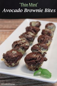 Thin Mint Avocado Brownie Bites   2CookinMamas - Essentials Oils and Greens added to these easy to make healthy avocado brownies makes these a win-win dessert!
