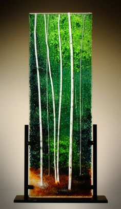 """Forest Green"" Glass Frit Painting by Diane Quarles"