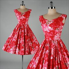 1950's Floral Print Cotton Dress