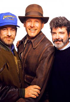 Steven Spielberg, Harrison Ford, and George Lucas Harrison Ford Indiana Jones, Indiana Jones Films, Alfred Hitchcock, Hollywood, Martin Scorsese, Harison Ford, Stanley Kubrick, Old Movies, Indie Movies