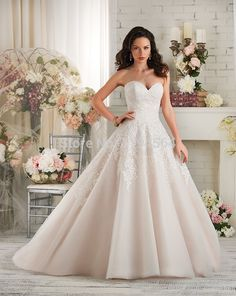 Free Shipping 2014 Top Lace Wedding Dresses Organza Bridal Gown Vestidos De Noiva Sweetheart Low Back WH1858 #Affiliate