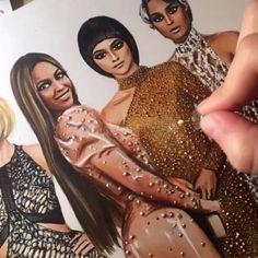 More process videos on my #snapchat follow me 👉🏾 @vel.ly  Do you want to see finished illustration?  #metgala #metgala2016 #metball #metball2016 #zendaya #ciara #beyonce #taylorswift #process #art #draw #illustration #drawing #paint #pencil